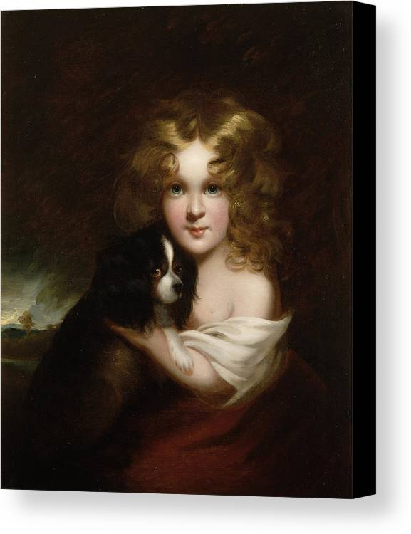 Young Canvas Print featuring the painting Young Girl With A Dog by Margaret Sarah Carpenter