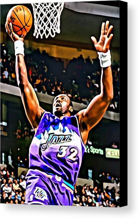 Karl Malone Canvas Print featuring the painting Karl Malone by Florian Rodarte