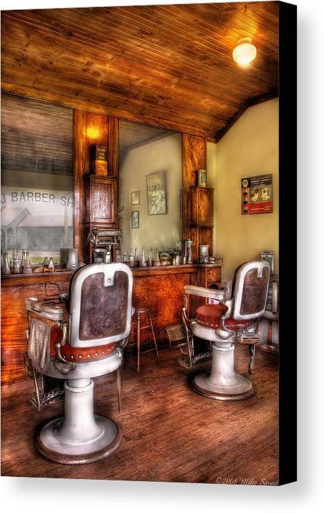 Barber Canvas Print featuring the photograph Barber - The Barber Shop II by Mike Savad