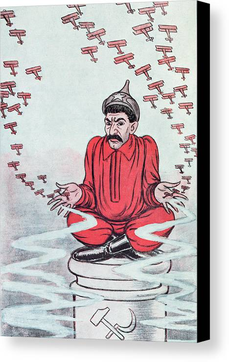 Stalin Canvas Print featuring the painting Caricature Of Stalin by Adrien Barrere