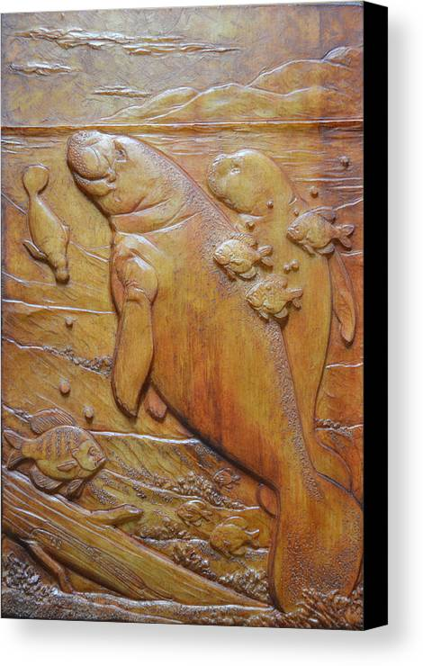 Manatee Canvas Print featuring the sculpture Clearwater Grouping by Jeremiah Welsh