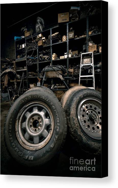 Equipment Canvas Print featuring the photograph Dark Old Garage by Amy Cicconi