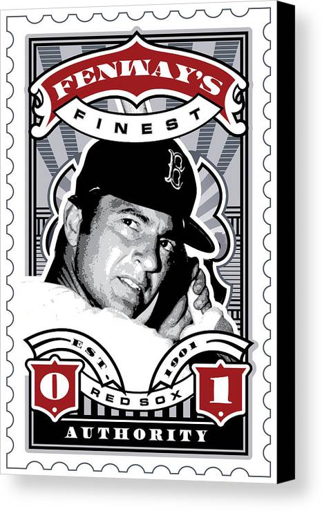 Ted Williams Canvas Print featuring the digital art Dcla Carl Yastrzemski Fenway's Finest Stamp Art by David Cook Los Angeles