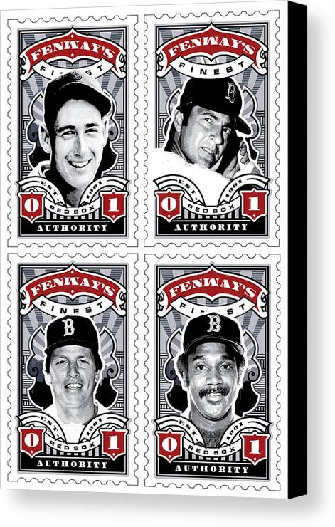 Ted Williams Canvas Print featuring the digital art Dcla Fenway's Finest Combo Stamp Art by David Cook Los Angeles