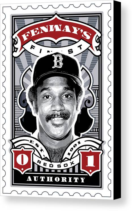 Ted Williams Canvas Print featuring the digital art Dcla Jim Rice Fenway's Finest Stamp Art by David Cook Los Angeles