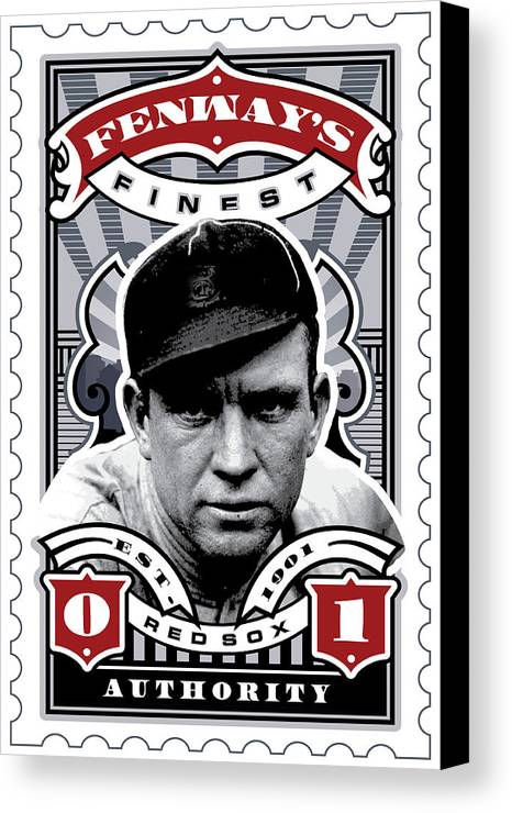 Ted Williams Canvas Print featuring the digital art Dcla Tris Speaker Fenway's Finest Stamp Art by David Cook Los Angeles