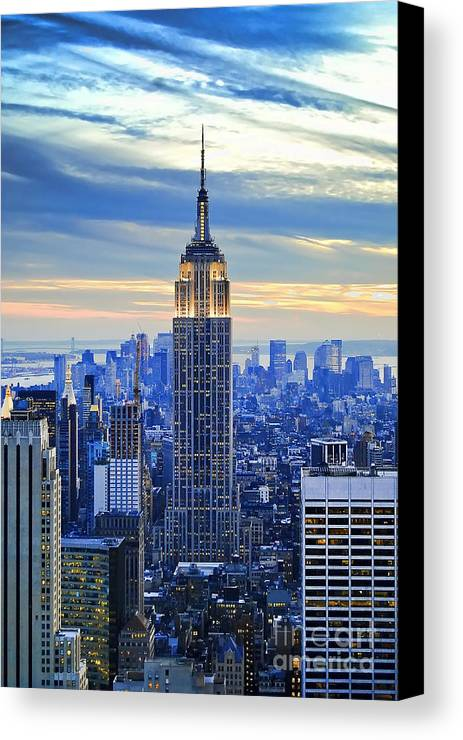 New York City Canvas Print featuring the photograph Empire State Building New York City Usa by Sabine Jacobs