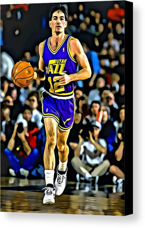 Nba Canvas Print featuring the painting John Stockton Portrait by Florian Rodarte