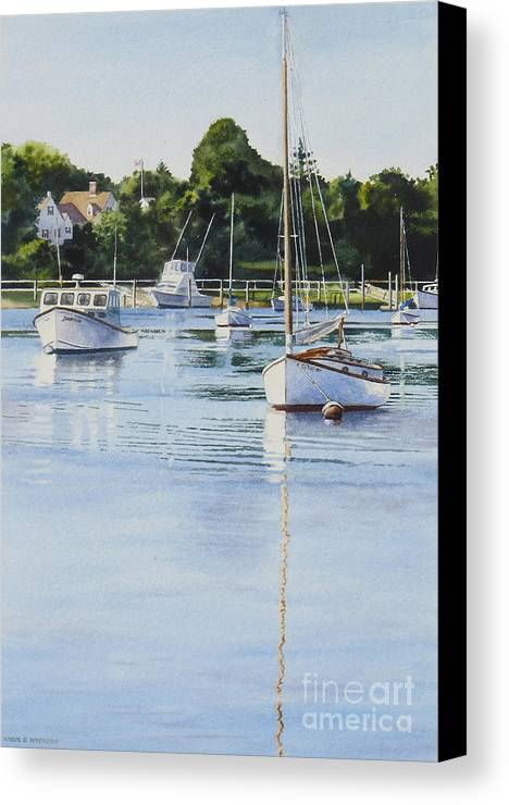 Sailboats Canvas Print featuring the painting Summer's Eve by Karol Wyckoff