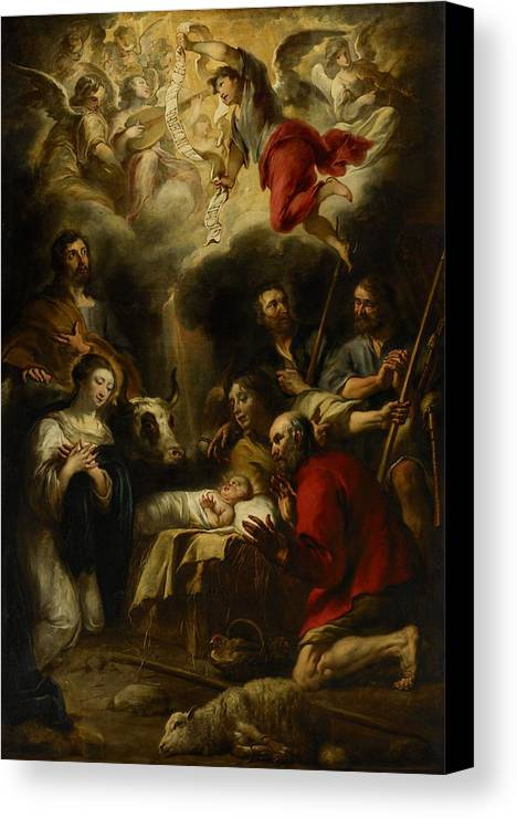 Christmas Cards Canvas Print featuring the painting The Adoration Of The Shepherds by Jan Cossiers