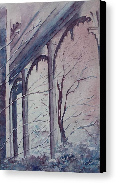 Snow Scene Canvas Print featuring the painting Blue Snow by Patsy Sharpe