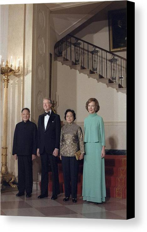 History Canvas Print featuring the photograph Deng Xiaoping Jimmy Carter Madame Zhuo by Everett