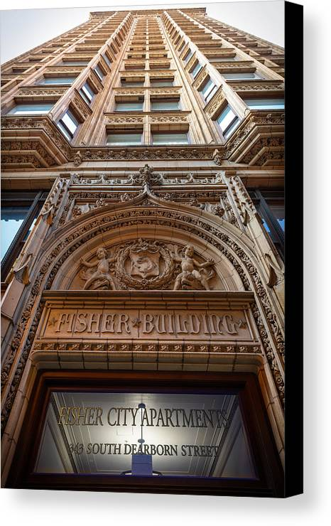Chicago Canvas Print featuring the photograph Fisher Building Chicago by Steve Gadomski