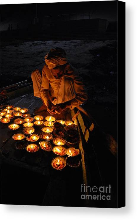 India Canvas Print featuring the photograph Flower Ceremony On The Ganges River by Jen Bodendorfer
