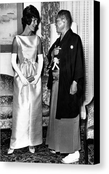 1960s Canvas Print featuring the photograph Jacqueline Kennedy, And Japanese Prime by Everett