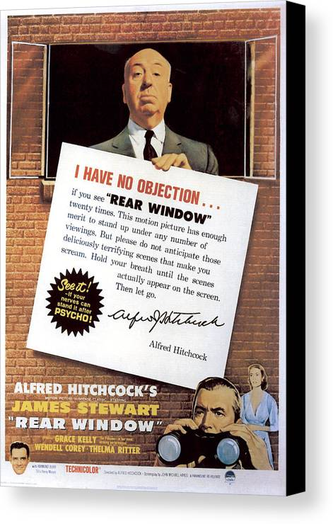 1950s Movies Canvas Print featuring the photograph Rear Window, Alfred Hitchcock, James by Everett