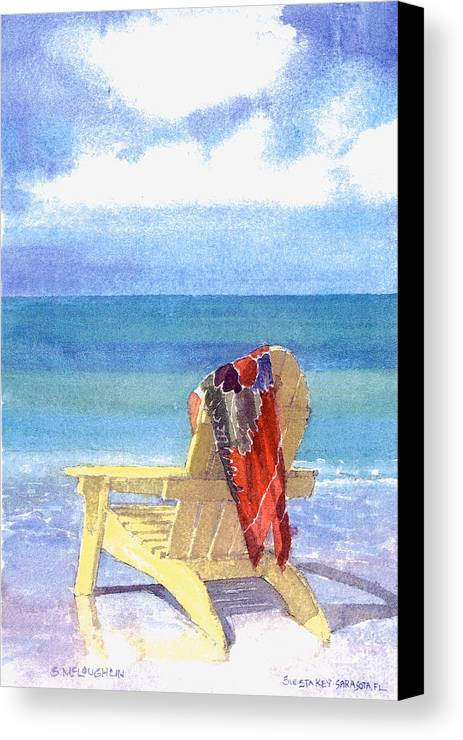 Beach Canvas Print featuring the painting Beach Chair by Shawn McLoughlin