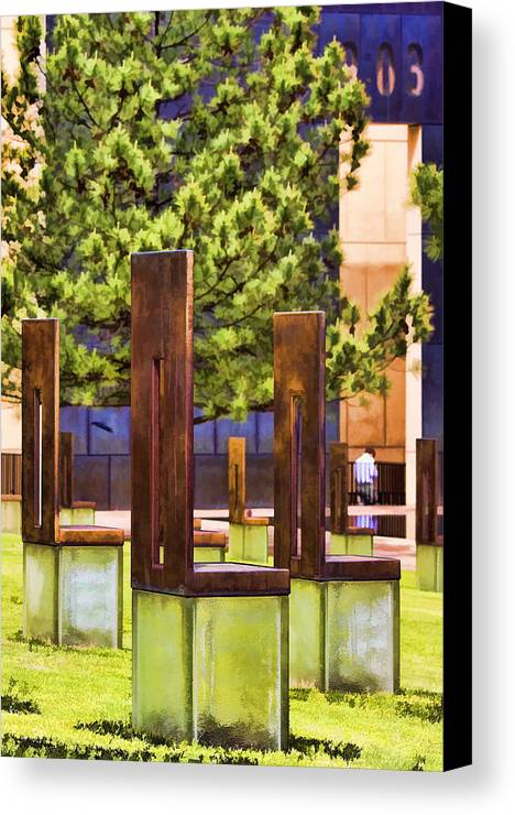 Oklahoma Canvas Print featuring the photograph Chairs At The Gate by Ricky Barnard