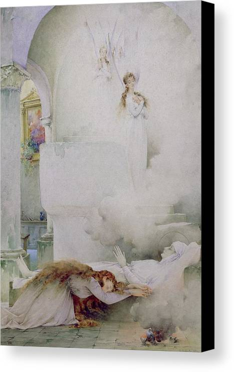 The Canvas Print featuring the painting The Death Of The Virgin by Guillaume Dubufe