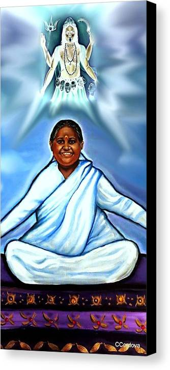 Amma Canvas Print featuring the painting Amma And Kali by Carmen Cordova