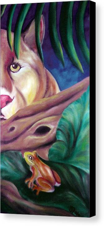 Landscape Canvas Print featuring the drawing Lioness And Frog by Juliana Dube