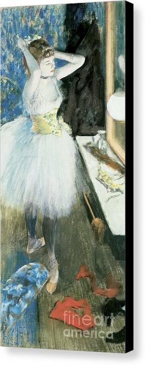 Dancer In Her Dressing Room Canvas Print featuring the pastel Dancer In Her Dressing Room by Edgar Degas