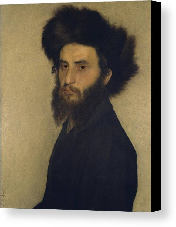 Portrait Canvas Print featuring the painting Portrait Of A Young Jewish Man by Isidor Kaufmann