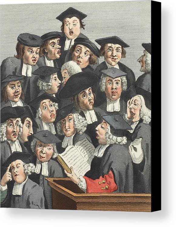 Caricature Canvas Print featuring the drawing The Lecture, Illustration From Hogarth by William Hogarth