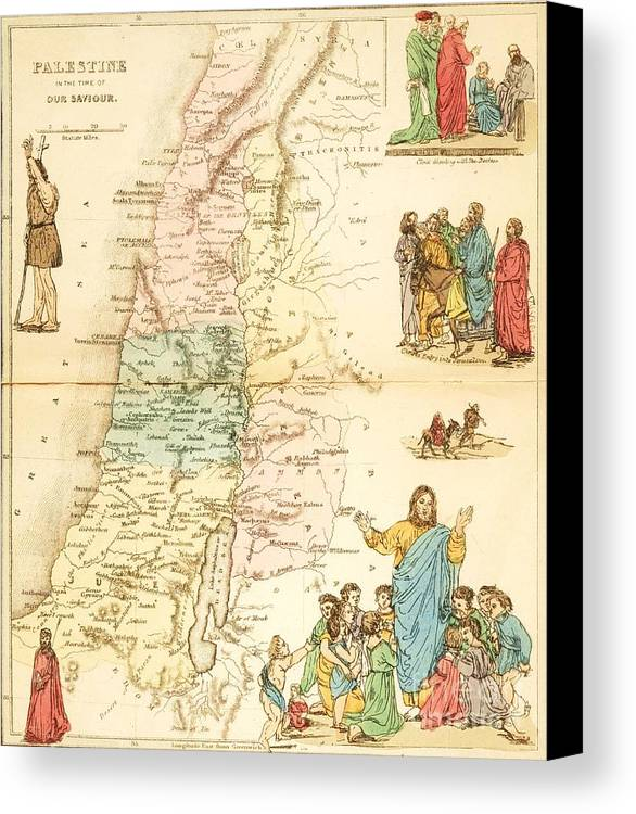 Reproduction Canvas Print featuring the painting Biblical Map Palestine by Pg Reproductions