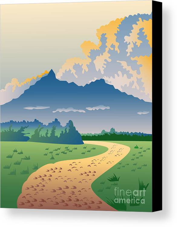Illustration Canvas Print featuring the digital art Road Leading To Mountains by Aloysius Patrimonio