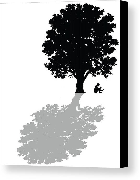 Tree Canvas Print featuring the painting Gregorys Thoughts Lead Him To Question The Very Nature Of His Existence by Mike Swift