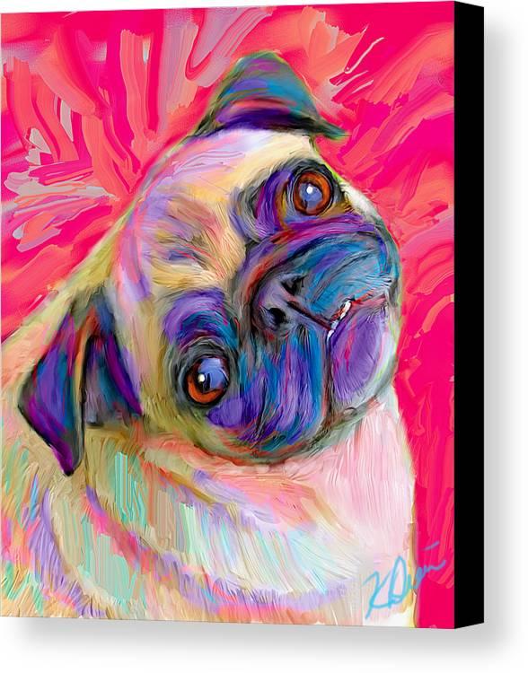 Pug Canvas Print featuring the digital art Pugsly by Karen Derrico
