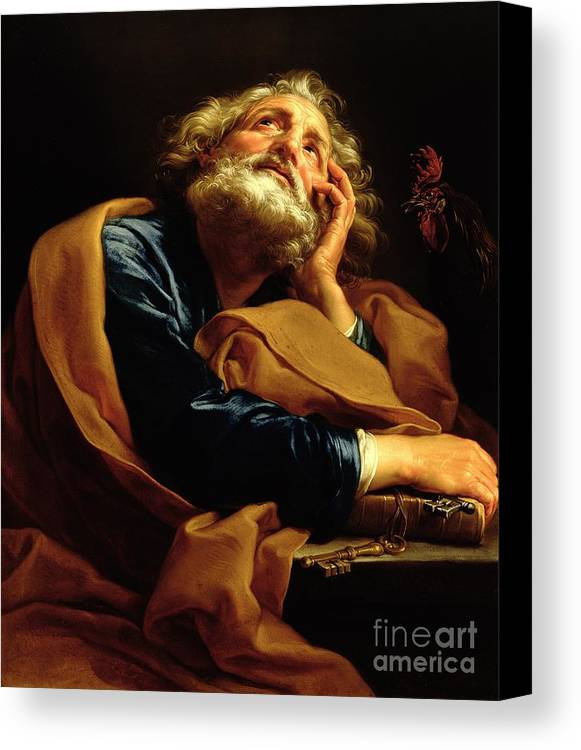 St Peter (oil On Canvas) Saint; Male; Beard; Pensive; Keys Of Heaven; Key; Book; Apostle Canvas Print featuring the painting St Peter by Pompeo Girolamo Batoni