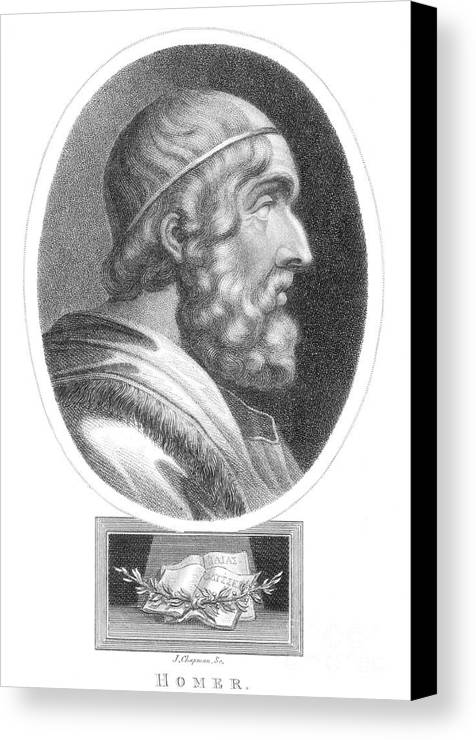 Literature Canvas Print featuring the photograph Homer, Ancient Greek Epic Poet by Photo Researchers