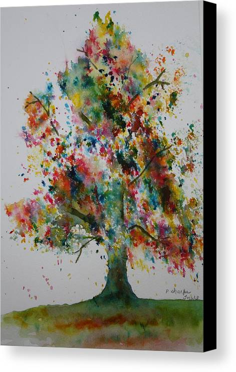 Landscape Canvas Print featuring the painting Confetti Tree by Patsy Sharpe