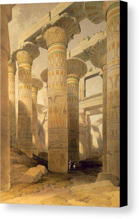 Ruins Canvas Print featuring the drawing Hall Of Columns, Karnak, From Egypt by David Roberts