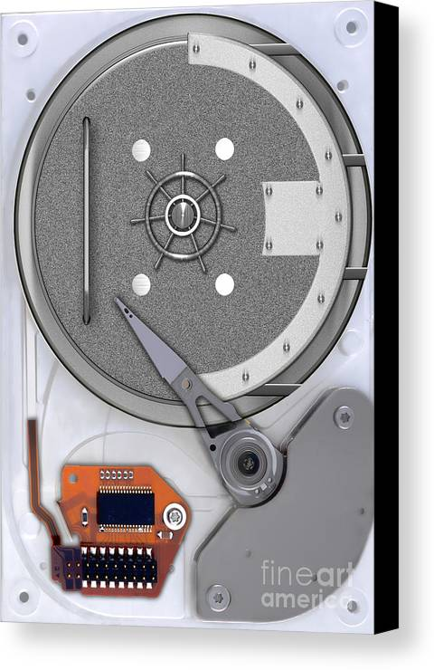 Hard Drive Canvas Print featuring the photograph Hard Drive by Mike Agliolo