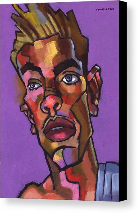 Portrait Canvas Print featuring the painting Louie After His Shower by Douglas Simonson