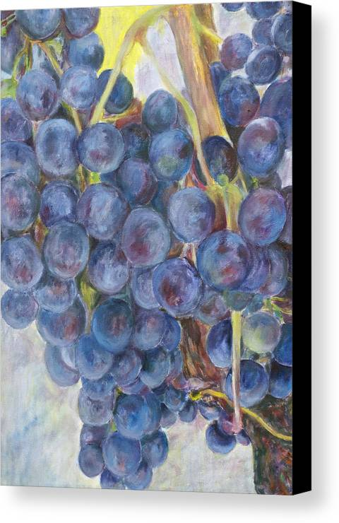 Grapes Canvas Print featuring the painting Napa Grapes 1 by Nick Vogel
