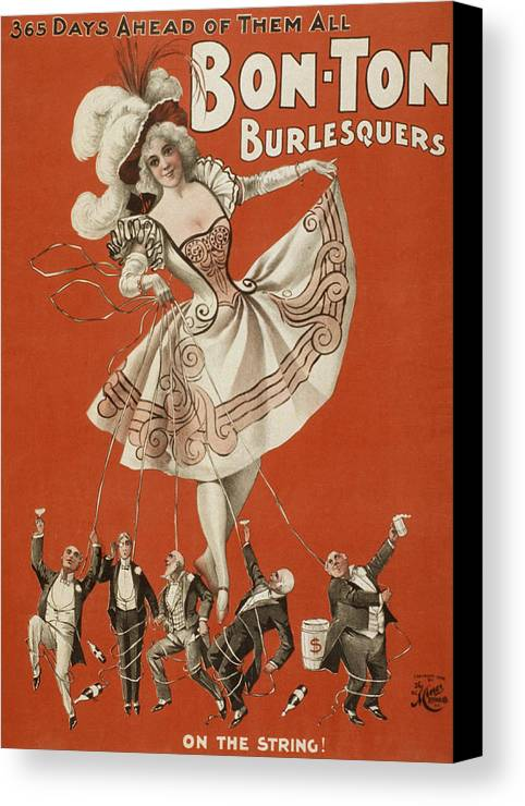 Entertainment Canvas Print featuring the drawing On The String by Aged Pixel