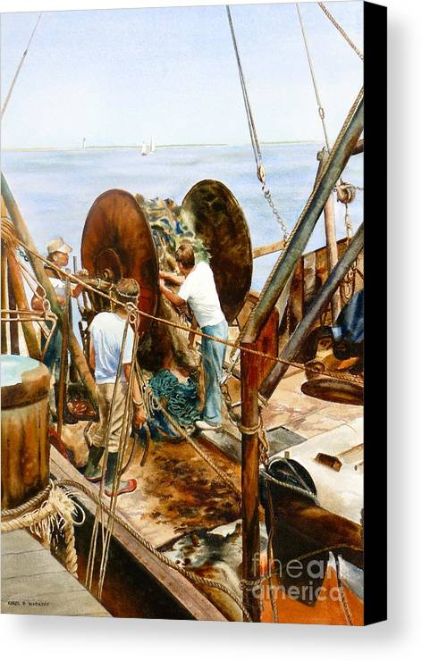 Fishermen Canvas Print featuring the painting Preparing The Nets by Karol Wyckoff