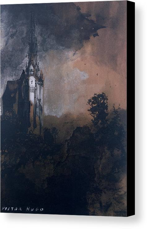 Victor Hugo Canvas Print featuring the painting The Castle In The Moonlight by Victor Hugo
