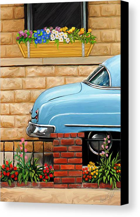 Old Car Canvas Print featuring the painting Clunker In The Garden by David Kyte