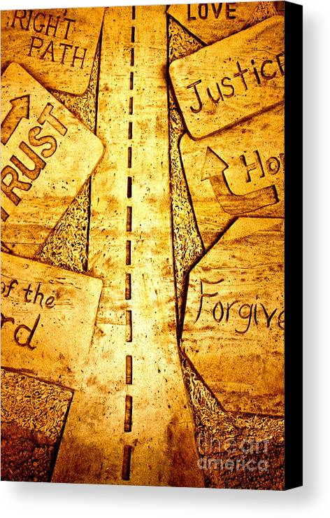 Sand Art Canvas Print featuring the pyrography It's A Long Road by Ted Wheaton
