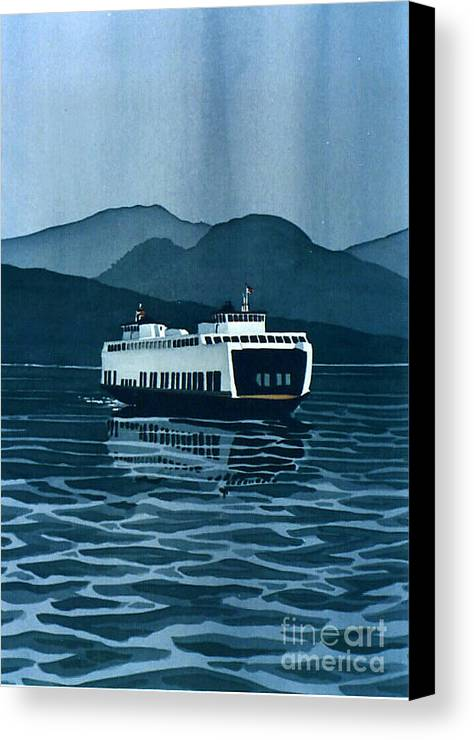 Washington Canvas Print featuring the painting Rainy Ferry by Scott Nelson