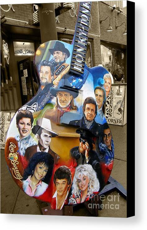Guitar Canvas Print featuring the photograph Nashville Honky Tonk by Barbara Teller
