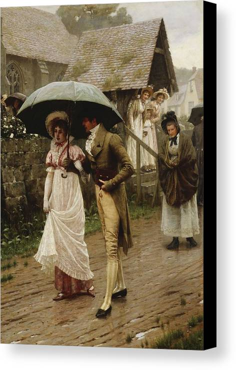 A Wet Sunday Morning Canvas Print featuring the painting A Wet Sunday Morning by Edmund Blair Leighton