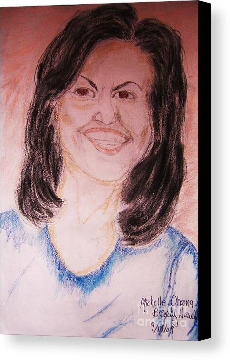 Michelle Obama Canvas Print featuring the greeting card First Lady by Beverly Howell