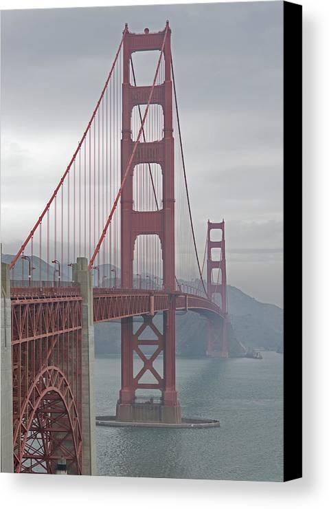 Vertical Canvas Print featuring the photograph Golden Gateway Bridge by Garron Nicholls
