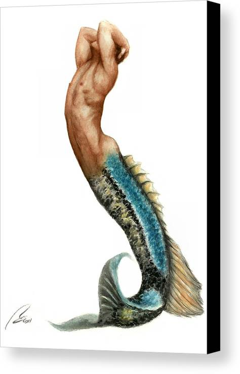 Merman Canvas Print featuring the painting Merman by Bruce Lennon
